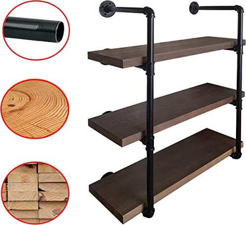 2CHOICE Industrial Pipe Shelving, Rustic Shelves Solid Canadian Wood, Vintage Sleek Pipe Shelves for Floating Bookshelf, Kitchen, Living Room Versatile Home Decor Wall Mounted Storage 3-Tier