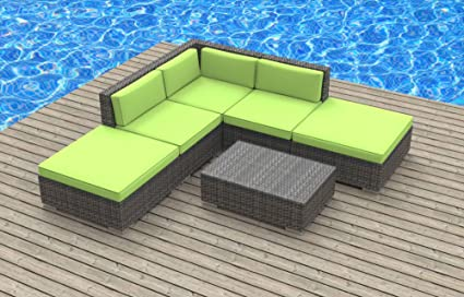 UrbanFurnishing - BALI 6pc Modern Outdoor Wicker Patio Furniture Modular Sofa Sectional Set, Fully Assembled - Lime Green