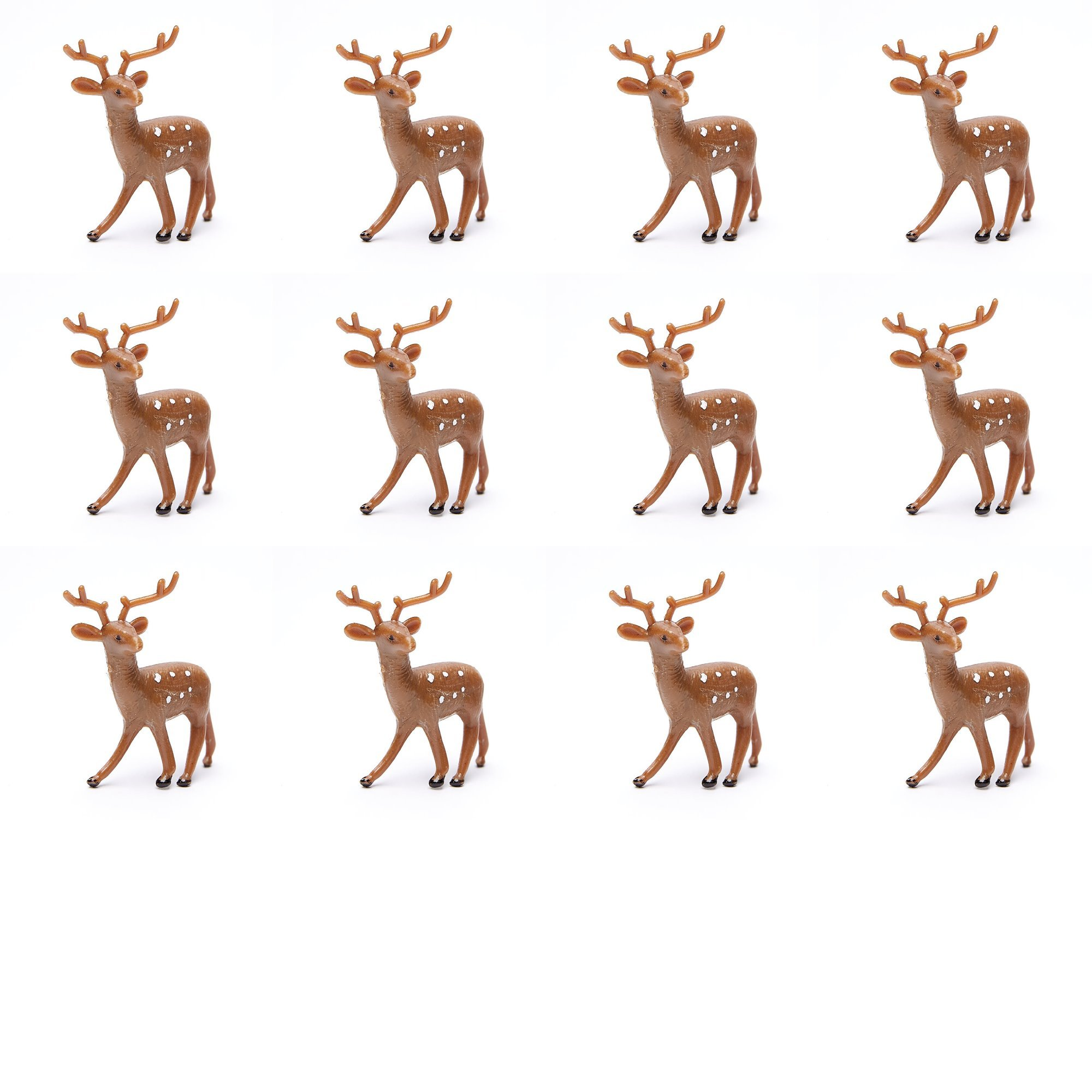 Factory Direct Craft Group of 12 Plastic Standing Brown Deer for Christmas Villages and Everyday Crafting (2 1/2 Inch)