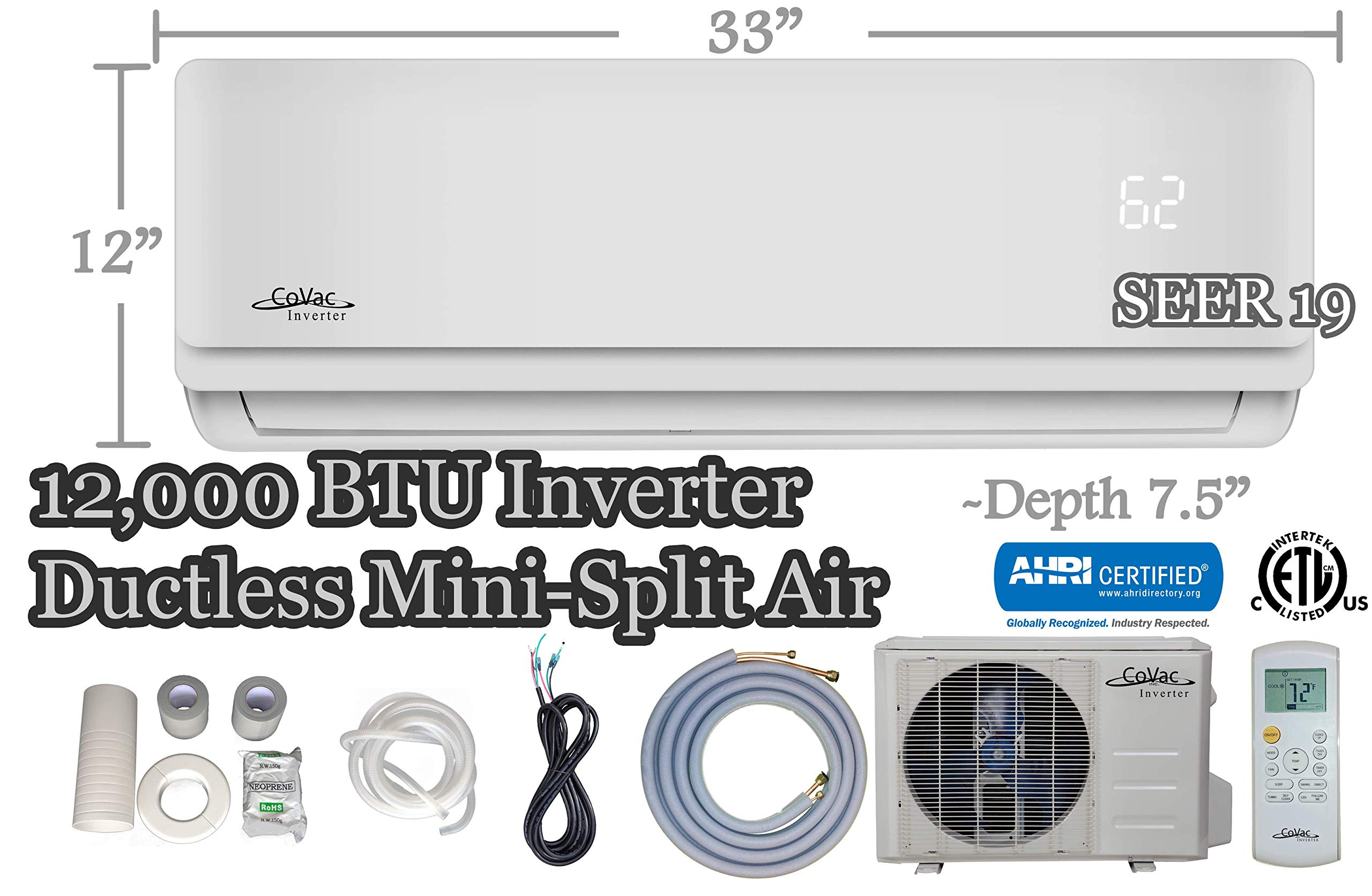 12,000 BTU CoVac Ductless Mini-Split Air Conditioner – Inverter SEER 19 – Cooling & Heating – Dehumidifier – 120v/60hz…