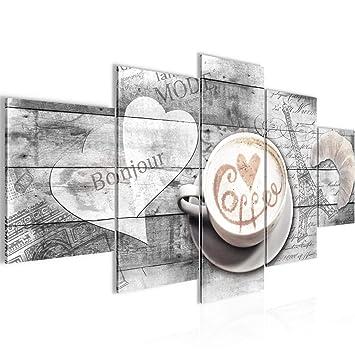 Bilder Kaffee Küche Wandbild 200 x 100 cm Vlies - Leinwand Bild XXL Format  Wandbilder Wohnzimmer Wohnung Deko Kunstdrucke Grau 5 Teilig - MADE IN ...