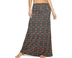 Urban CoCo Women's Stylish Spandex Comfy Fold-Over Flare Long Maxi Skirt
