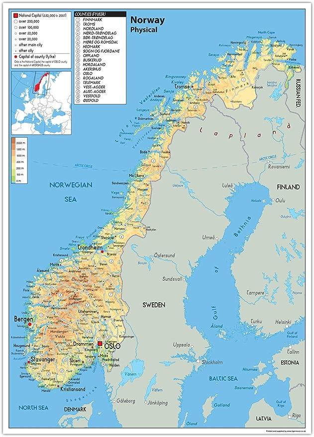 Cartina Norvegia Politica.Norvegia Mappa Fisica Carta Plastificata Ga A2 Size 42 X 59 4 Cm Clear Amazon It Cancelleria E Prodotti Per Ufficio
