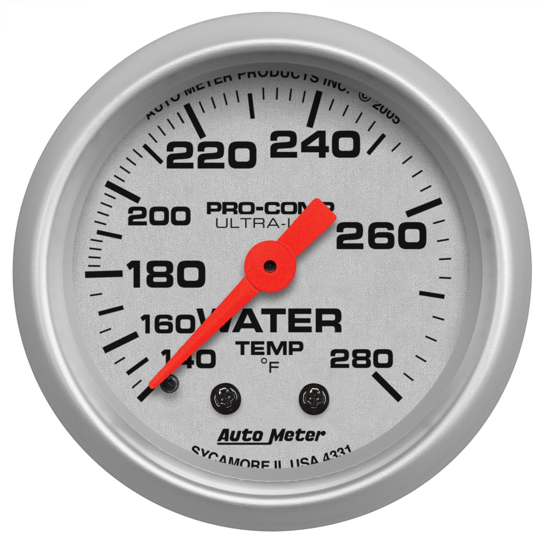 Auto Meter 4331 Ultra-Lite Mechanical Water Temperature Gauge