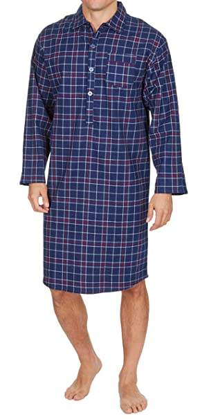 980747a279 INSIGNIA Mens Nightshirt Gown 100% Brushed Cotton Winter Warm (Navy Check  Reactive