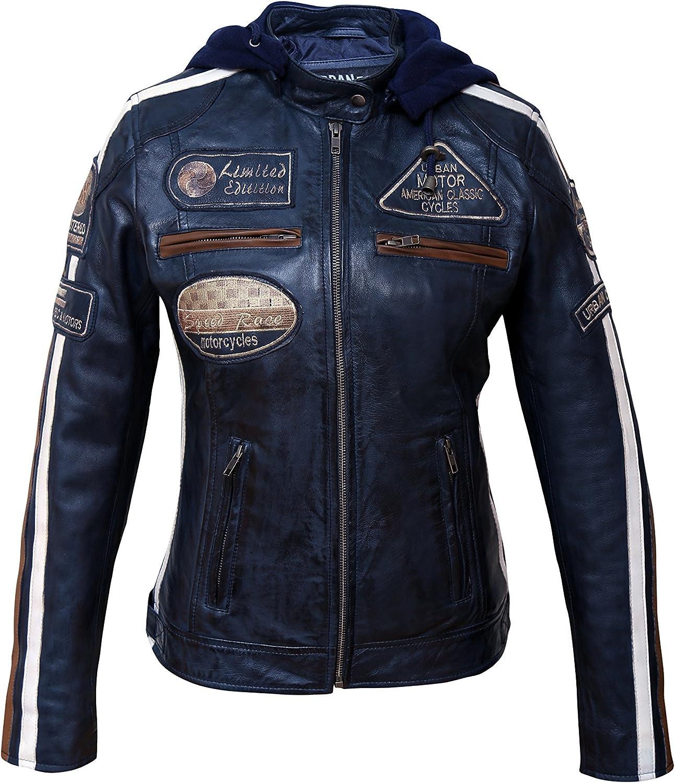 Chaqueta Moto Mujer de Cuero Urban Leather '58 LADIES' | Chaqueta Cuero Mujer | Cazadora Moto de Piel de Cordero | Armadura Removible para Espalda, Hombros y Codos Aprobada por la CE |Navy Azul | S