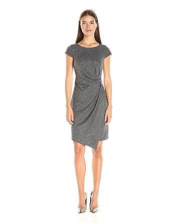Jones New York Women's City Herringbone Dress, Black Combo, 2