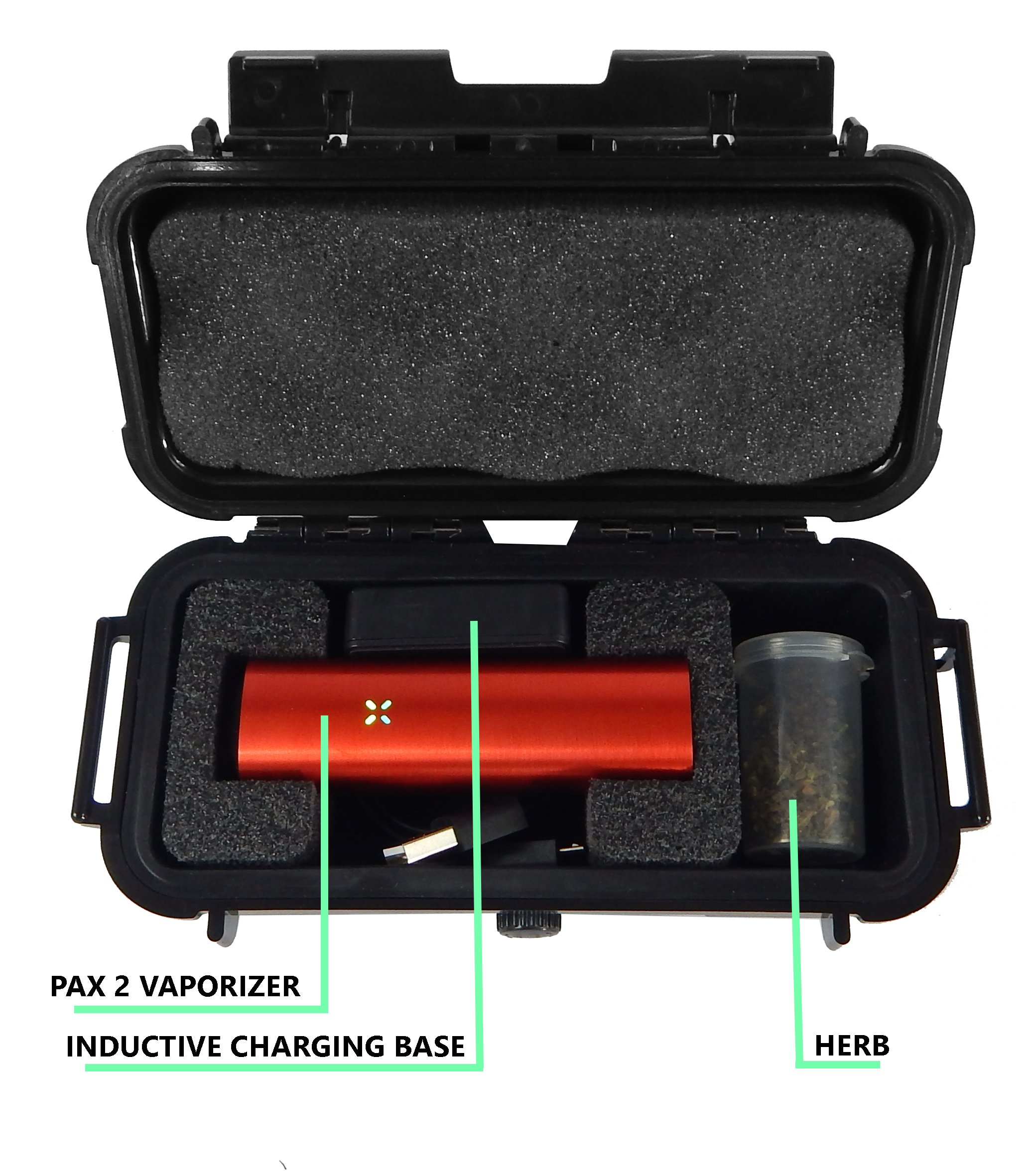 CLOUD/TEN Pax 2 and Pax 3 Custom Case - Smell Proof Odor Resistant Protective Airtight Carry Box - Foam Specially Designed to Hold Pax 2 , Charger and Container Slot - Comes with Free Herb Canister by CASEMATIX (Image #2)