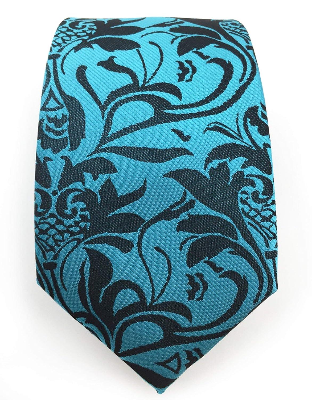 Aqua And Black Vintage Floral Wedding Tie Extra Long 2XL-64 Gentleman Joe Necktie