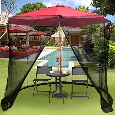 TANGKULA 9/10FT Patio Umbrella Screen Umbrella Mosquito Net Outdoor Patio  Netting Canopy Mesh