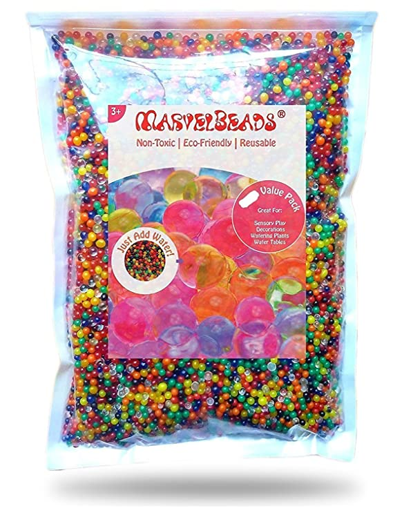 MarvelBeads 20000Beads Water BeadsGel Pearls 12 Color Rainbow Mix Makes 15 20 Gallons of Beads Great, 250 g Vase Fillers at amazon