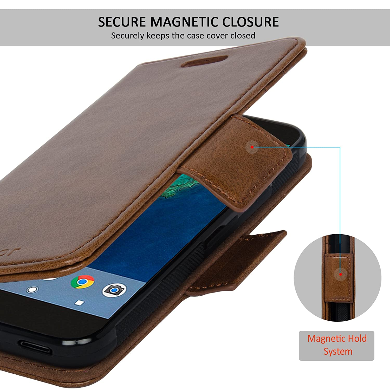 78e7215a410f Navor Detachable Magnetic Wallet Case for Google Pixel [RFID Protection]  [Logo Hole] [Vajio Series]-Brown