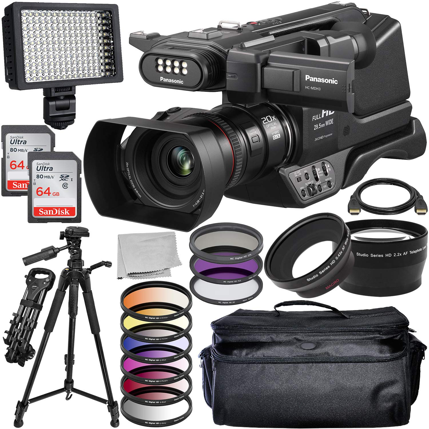 Panasonic HC-MDH3 AVCHD Shoulder Mount Camcorder with LCD Touchscreen & LED Light Elite Bundle Includes: 2X SanDisk Ultra 64GB Memory Cards, 160 LED Video Light, 3PC Filter Kit, and Much More
