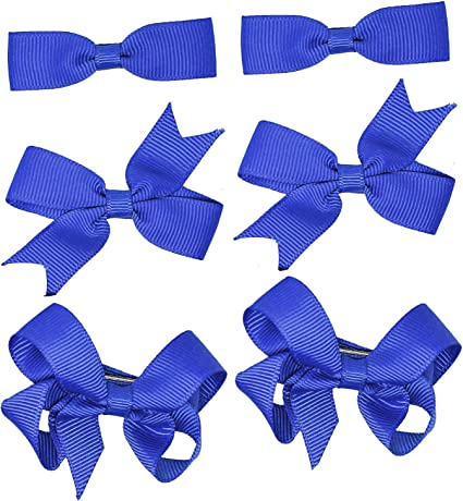 Girls School Grosgrain Ribbon Bow Alligator Hair Clips Royal Blue Hair Clip