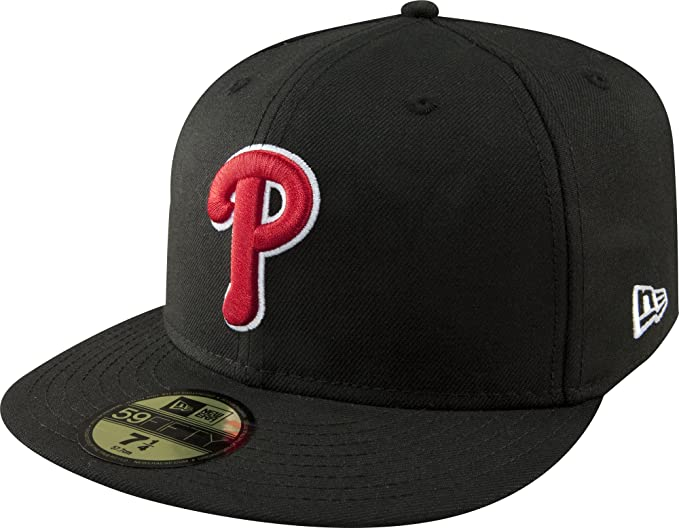 online store b4248 229cd Amazon.com   MLB Philadelphia Phillies Black with Scarlet and White 59FIFTY  Fitted Cap   Sports Fan Baseball Caps   Clothing