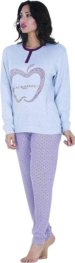 Pijama Mujer algodón Largo Invierno - Pijama Mujer cálido algodón al 100% - Nueva colección Invierno Baci&Abbracci 2019 2020 Pijama Mujer Invierno piguama Mujer Manga Larga Modelo 3 46 ES/M: Amazon.es: Ropa y accesorios