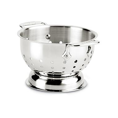 All-Clad 56015 Stainless Steel Dishwasher Safe Colander Kitchen Accessorie, 1.5-Quart, Silver