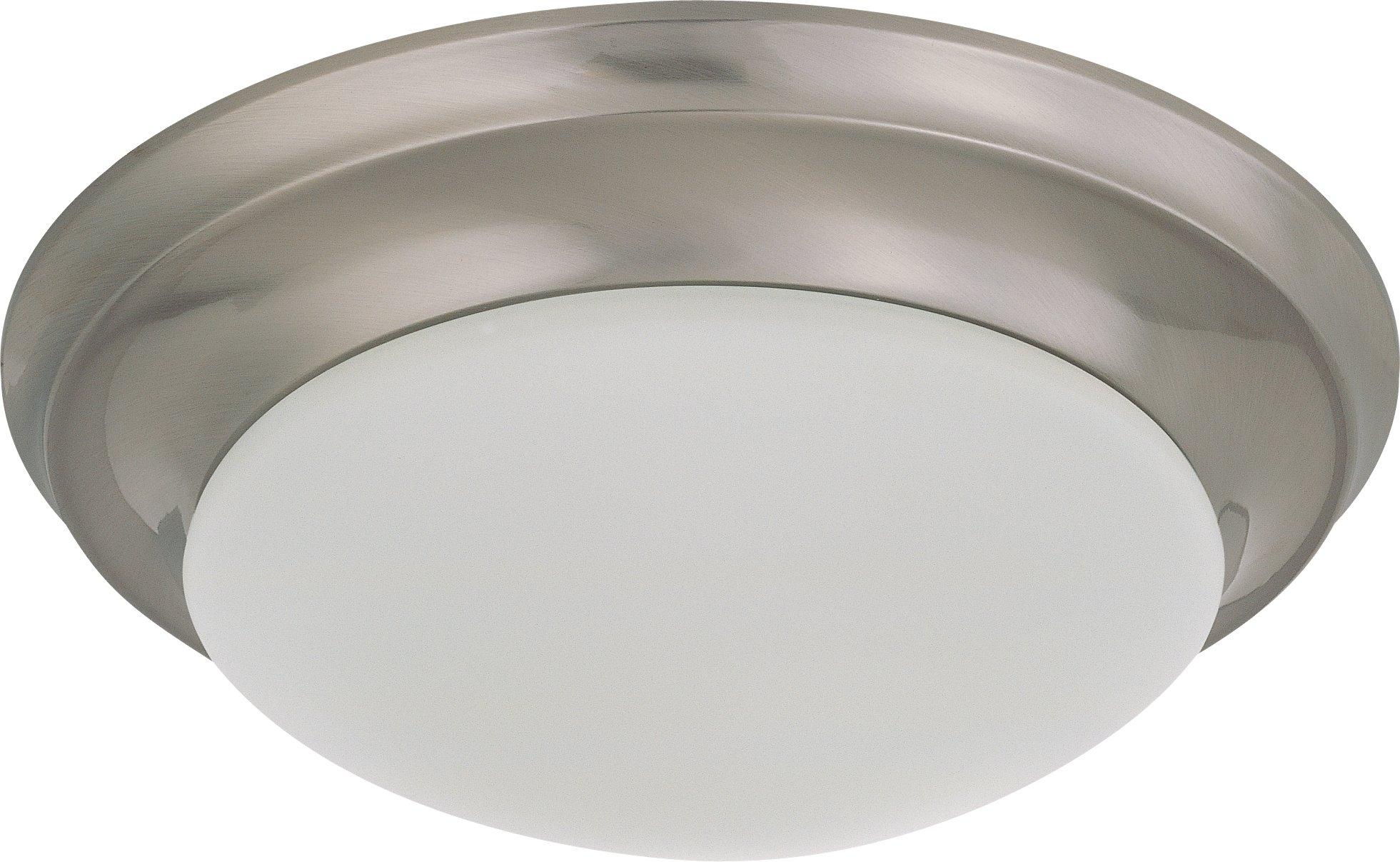 Nuvo Lighting 62/786 LED Twist & Lock Fixture Nuvo Flush Mount, 12 inch Diameter, Brushed Nickel
