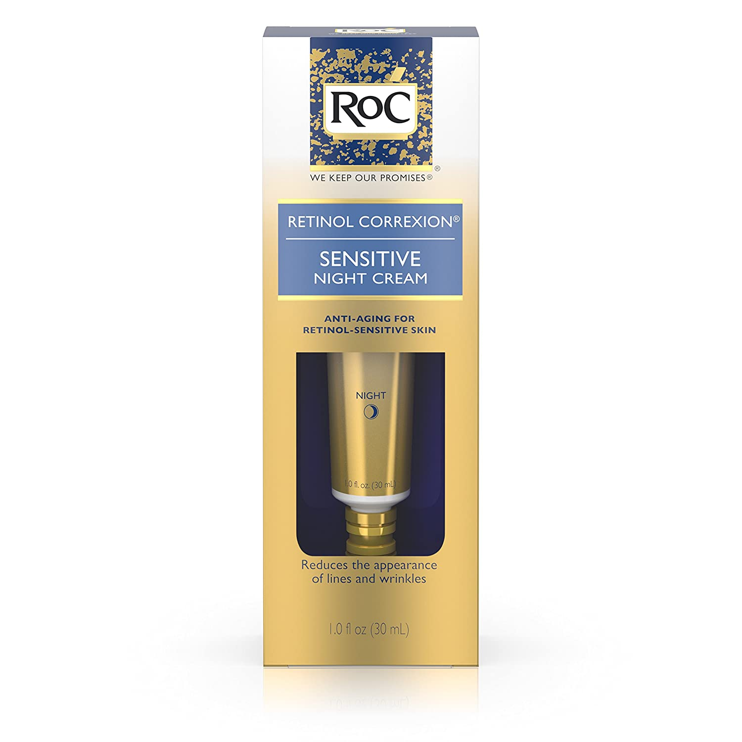 RoC Retinol Correxion Anti-Aging Sensitive Skin Wrinkle Night Cream, Made with Milder Strength Retinol and Hyaluronic Acid, 1 fl. oz 0381371089796 ROC762