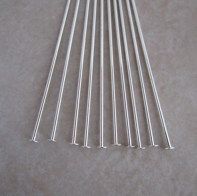 Sterling Silver headpins 3 inch 21 Gauge 2mm Head 20