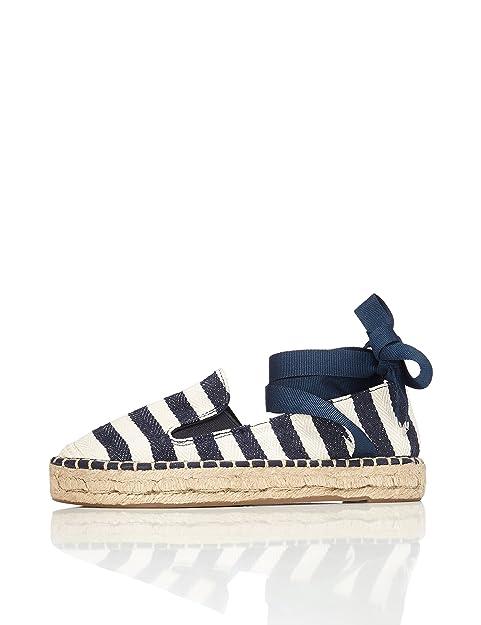 FIND Alpargata de Cuero con Tiras Cruzadas para Mujer  Amazon.es  Zapatos y  complementos 65e6a4441566
