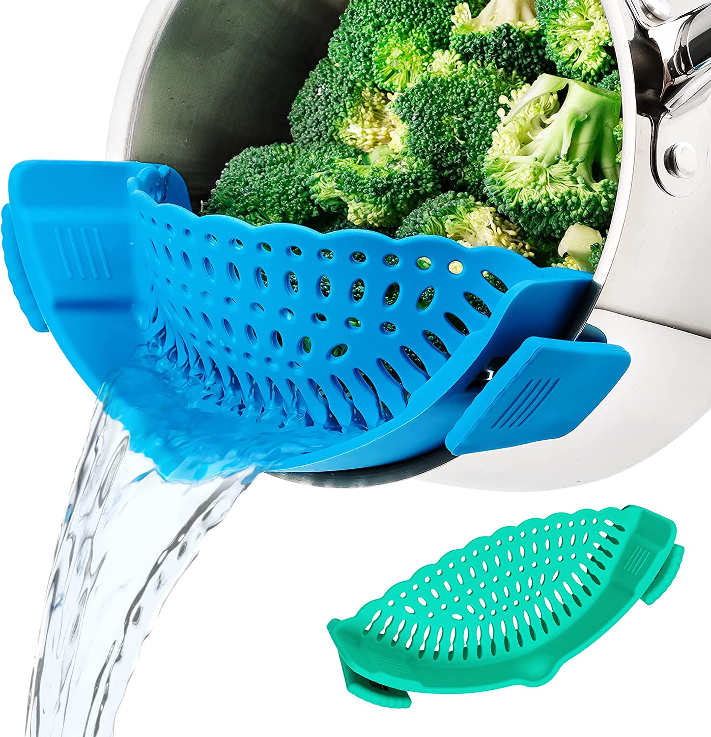 MICHELANGELO Snap Strainer 2 Pack, Clip on Strainer for Pots, Silicone Pot Strainer Clip on Colander Pasta Strainer Snap N Strain Kitchen Gadgets, Food Strainers Spaghetti Strainer Blue & Green
