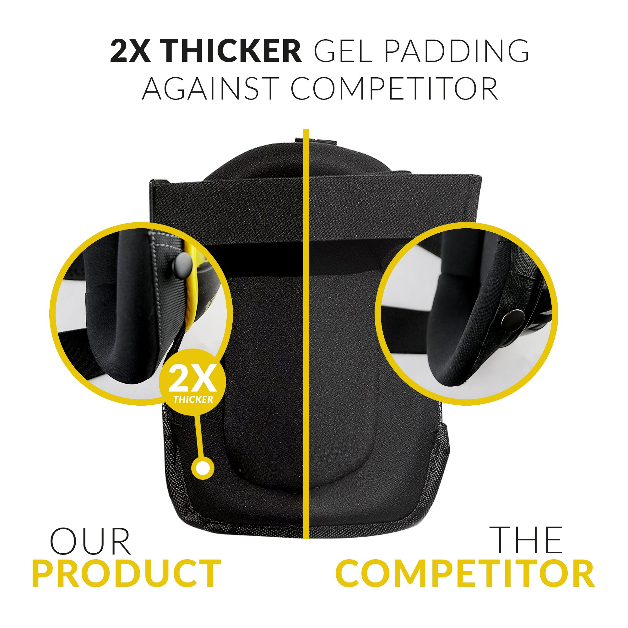 HEAVY DUTY CONSTRUCTION KNEE PADS - Thick Foam + Gel Pad for Extra Comfort | Durable Reinforced Stitching | Non-Slip & Adjustable For Cleaning, Yard, Flooring, Professional Work | Includes Mesh Bag by Epifany Products (Image #2)