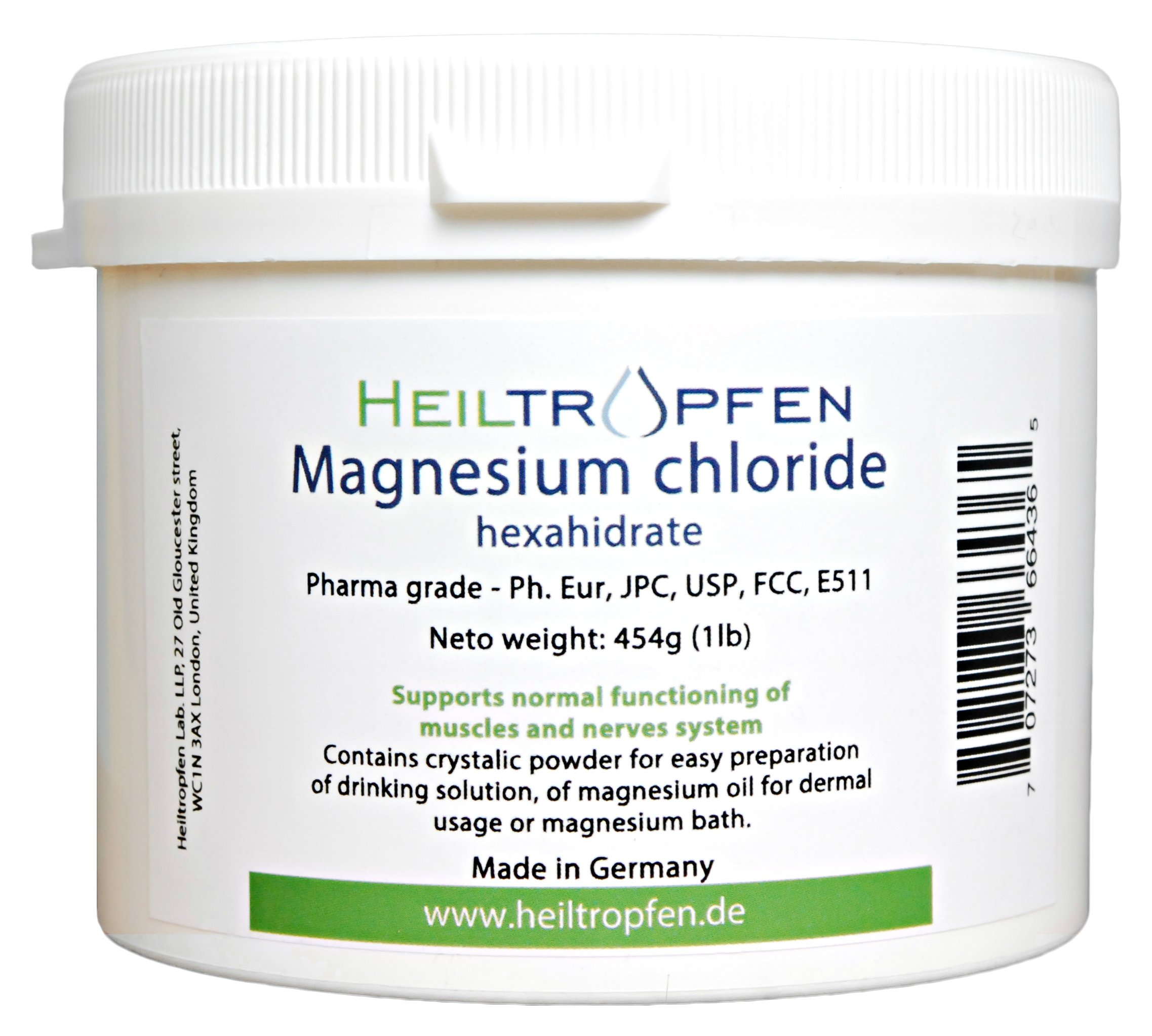 1 Pound Magnesium Chloride, Hexahydrate, Pharmaceutical Grade, Crystal Powder, Pure Ph.
