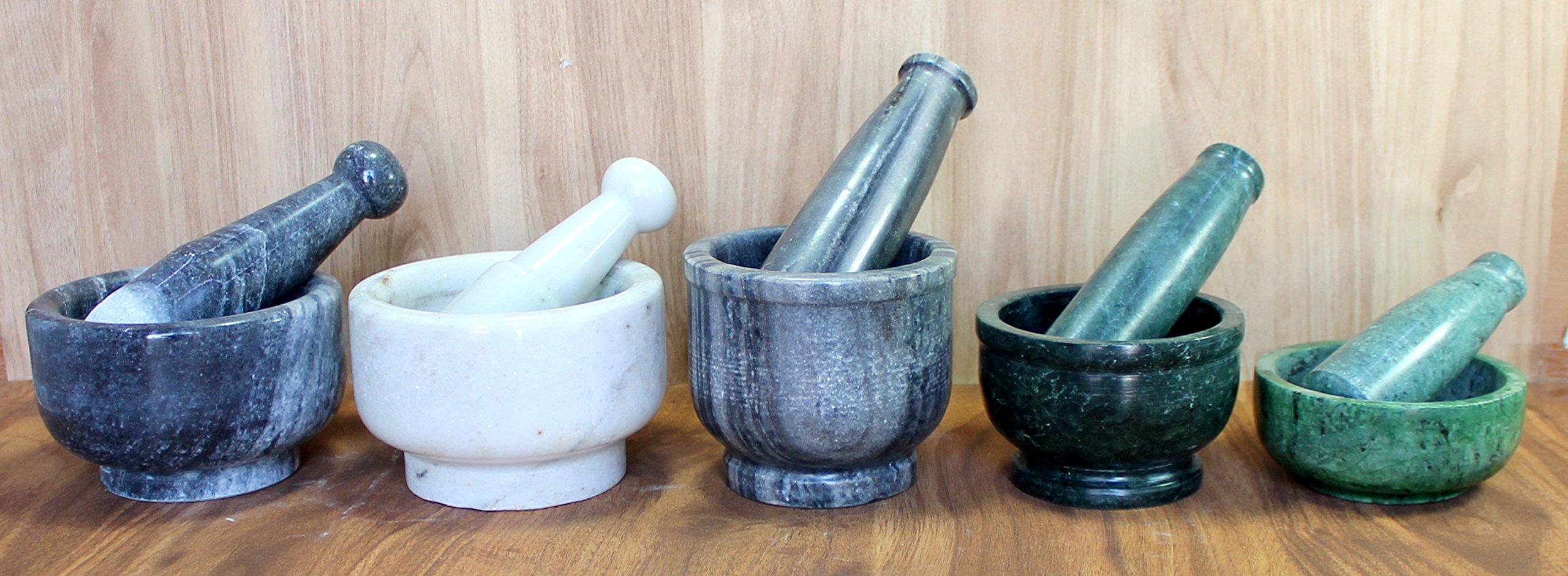 KLEO 5'' Dia White Natural Marble Stone Mortar and Pestle Set as Spice, Medicine Grinder Masher