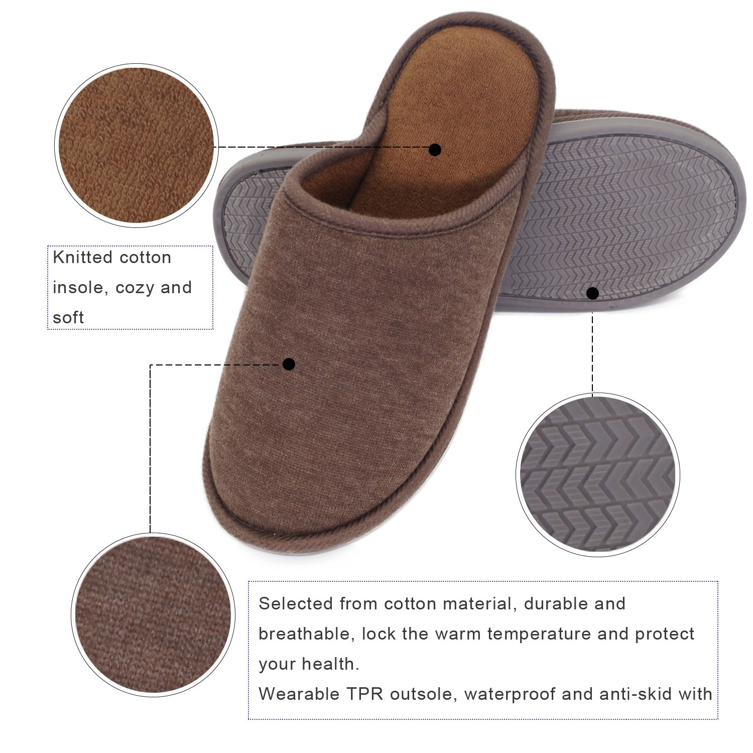 Moodeng House Slippers Memory Foam For Women Men Anti-Skid Indoor Slide Shoes Washable Lightweight Ladies Home Slipper (US 7-8.5 -Men, Brown) by Moodeng (Image #4)