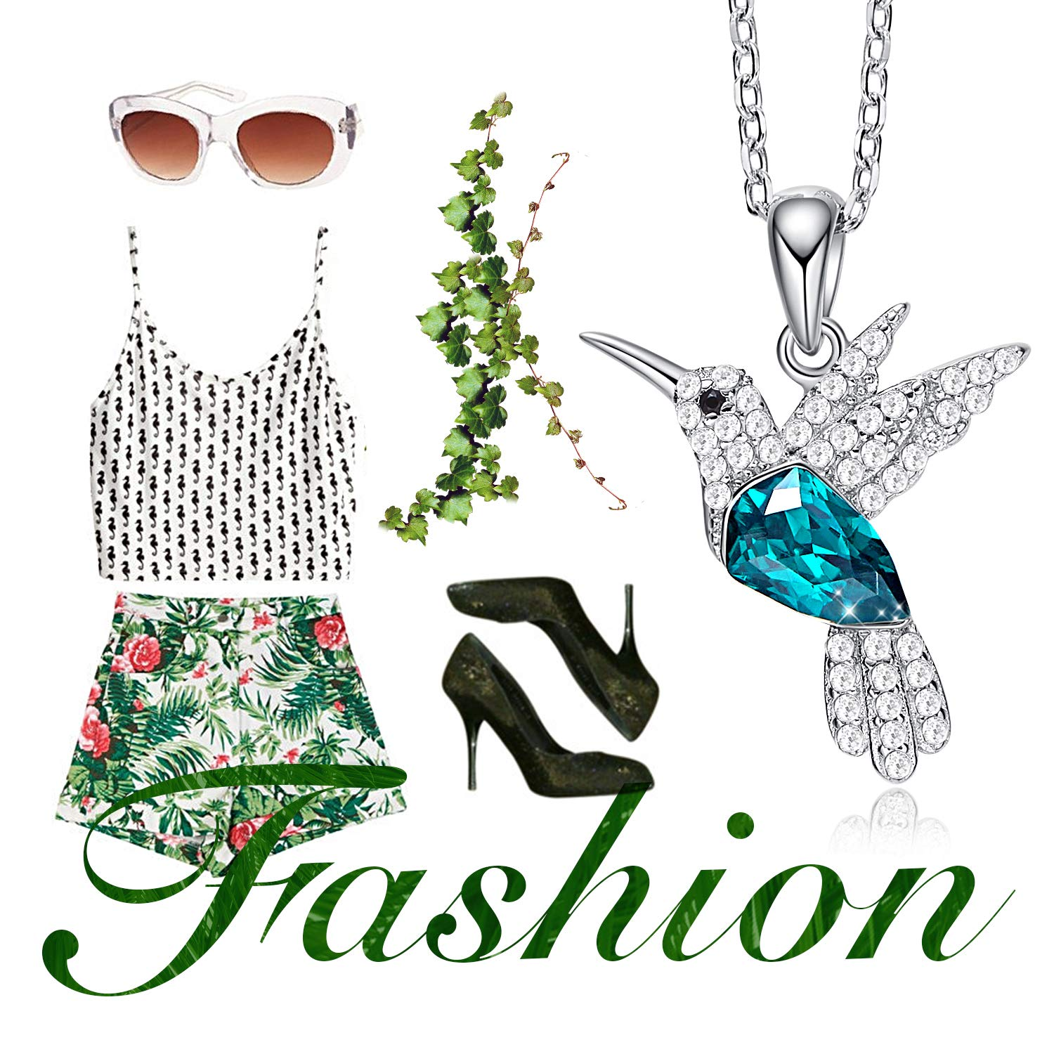 CDE S925 Sterling Silver Necklace Woman Swarovski Crystals Pendant Necklaces Hummingbird Fine Jewelry Gift for Her by CDE (Image #8)