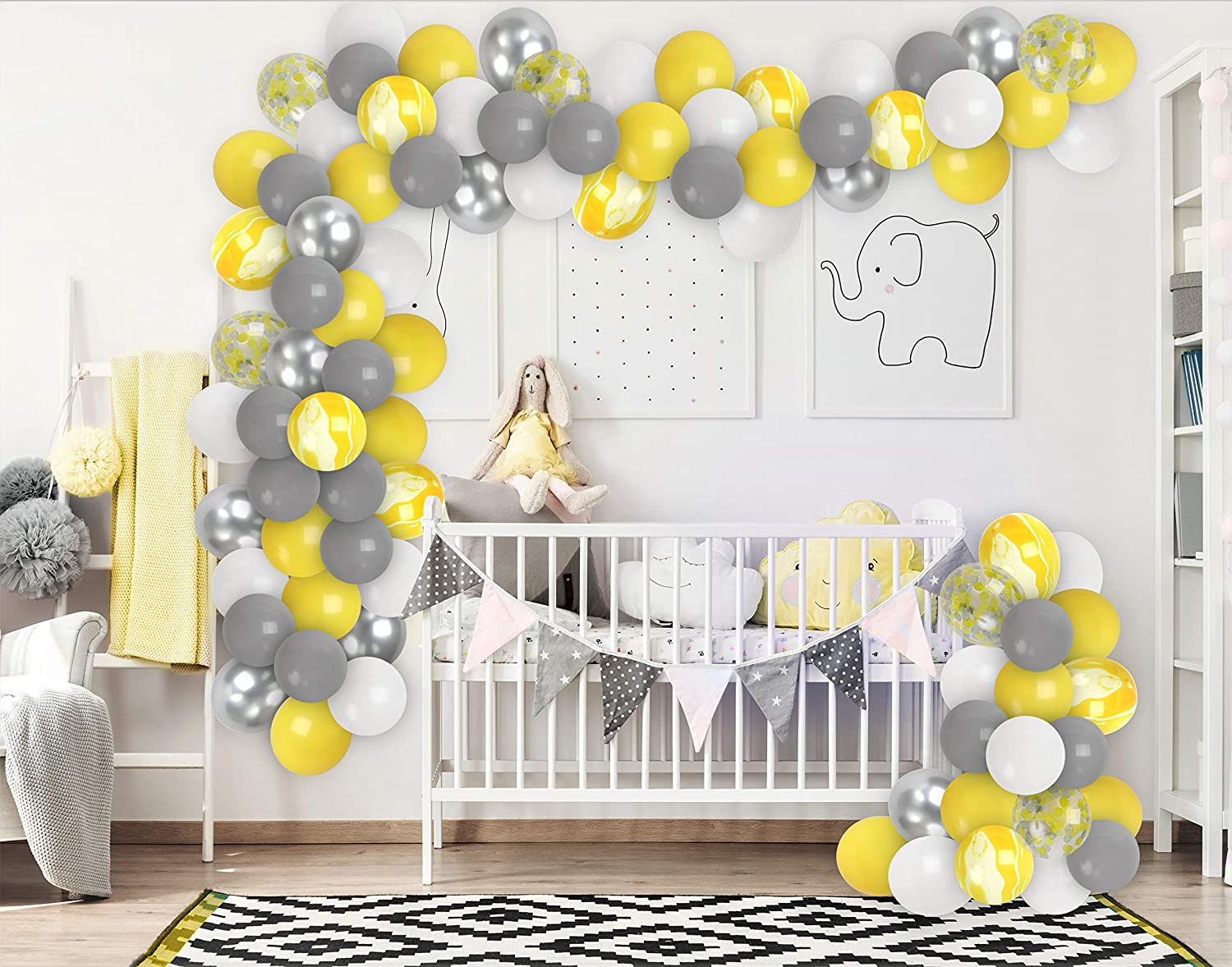 Elephant Baby Shower Decorations Grey Yellow Balloon Garland Kit Silver White Yellow Balloons Arch Grey Yellow Confetti Bumble Bee Baby Shower Birthday Party Supplies Gender Reveal Party Decor