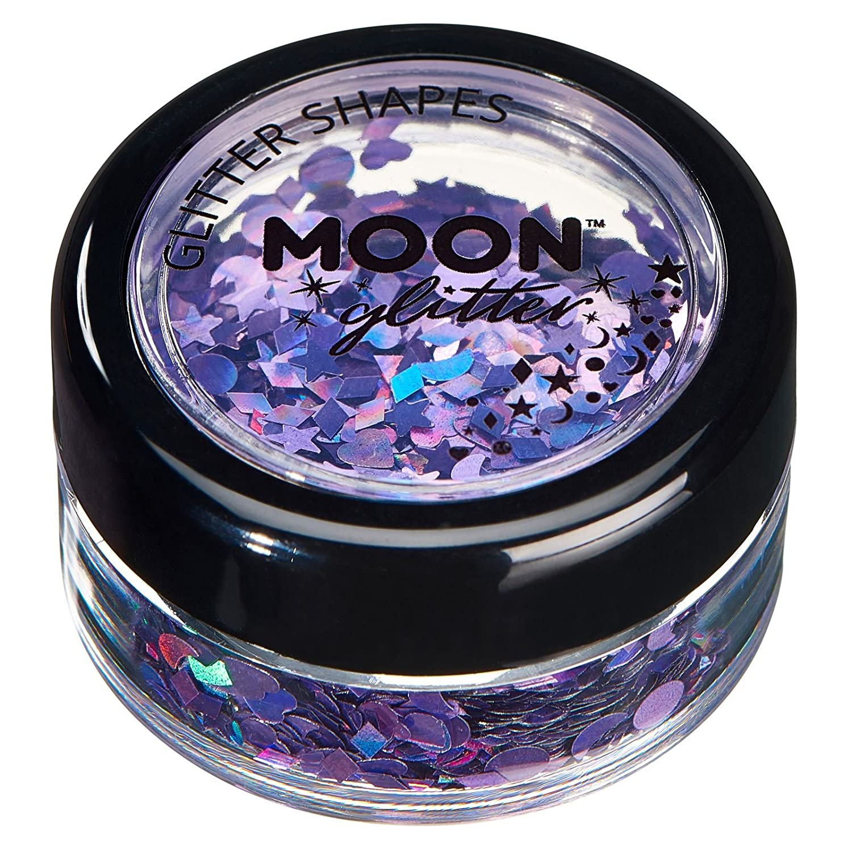 Brillo con Figuras Holográficas por Moon Glitter – 100% Brillo Cosmético para la Cara, Cuerpo, Uñas, Cabello y Labios - 3g - Plata