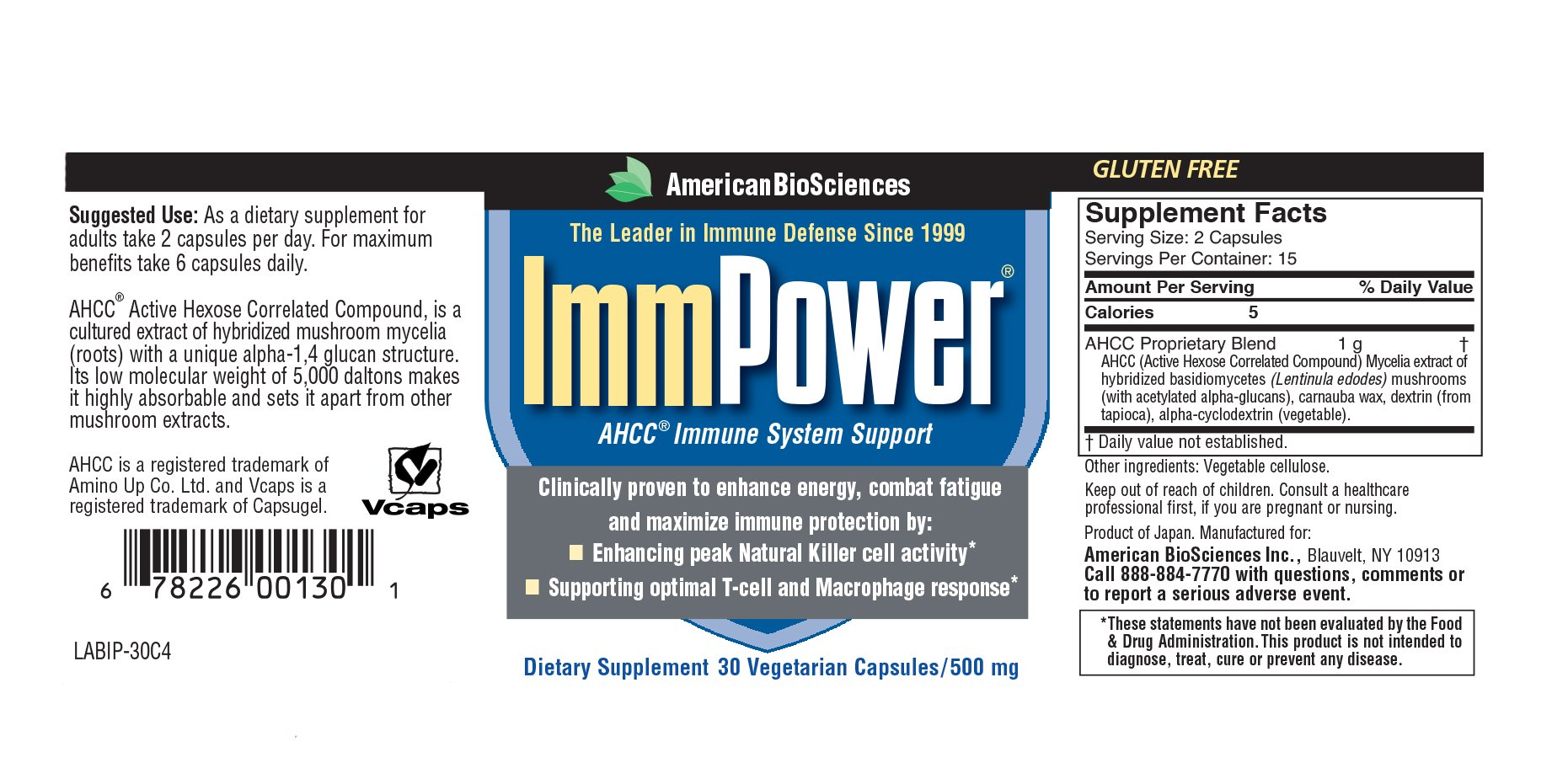 American BioSciences ImmPower AHCC Supplement 6-Pack, Enhanced Immune Support, Natural Killer Cell Activity and Cytokine Production, 30 Vegetarian Capsules, 500 milligrams per Capsule by American Biosciences (Image #2)