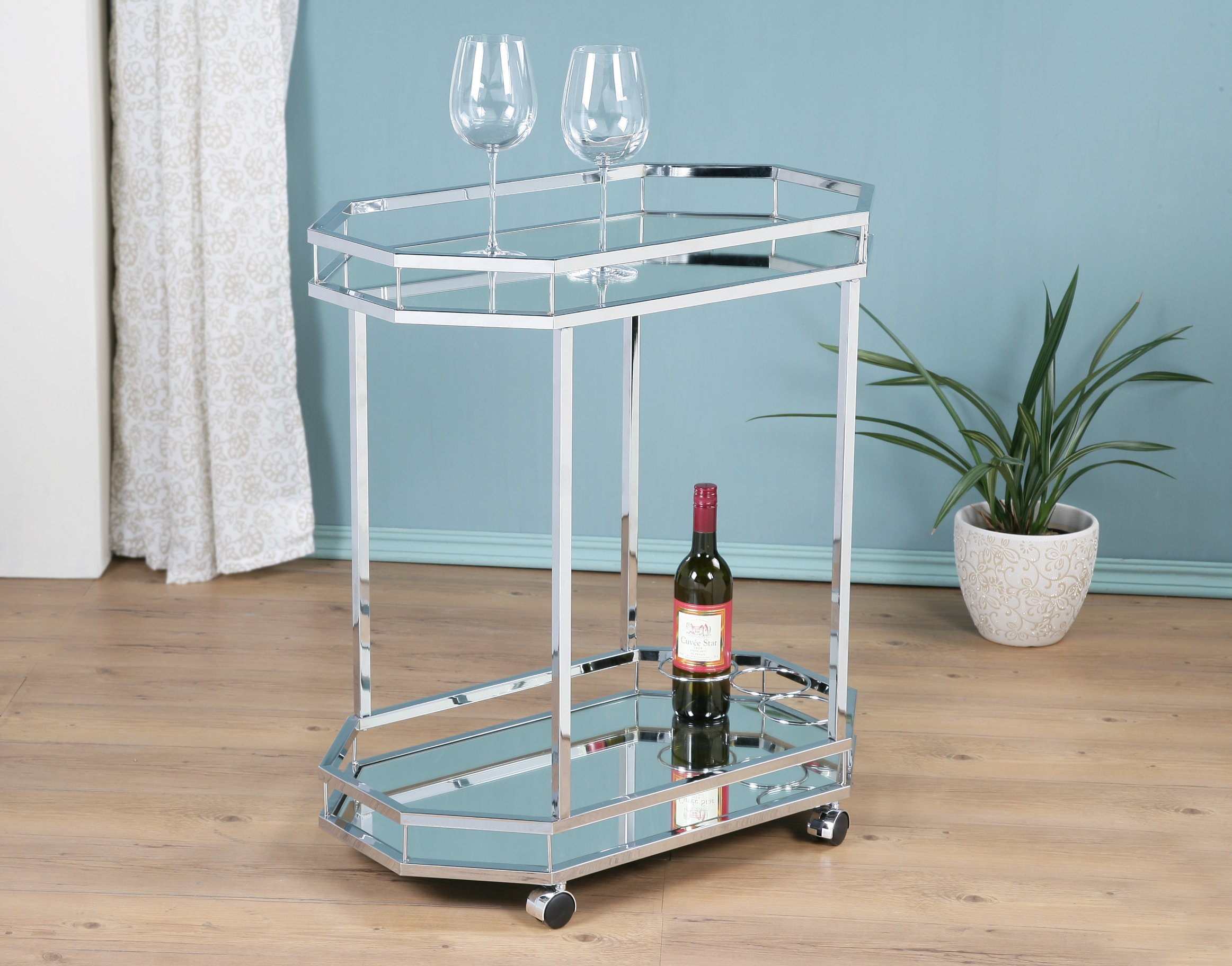 Chrome Metal Bar Tea Wine Bottle Holder Serving Cart With Tempered Glass Top / Mirror Bottom by GiniHomer