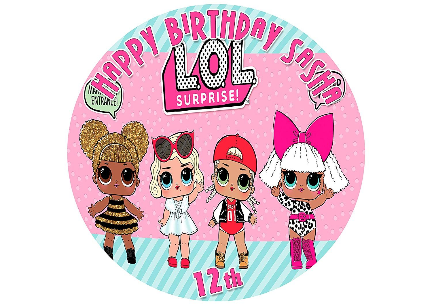 EdibleInkArt Cake Topper Personalized Birthday 6'' Round Circle Decoration Party Birthday Sugar Frosting Transfer Fondant Image ~ Best Quality Edible Image for Cake Surprice