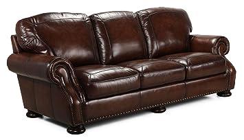 Charming Simon Li Furniture Carlton Leather Sofa In Medium Brown