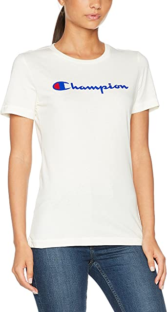 Champion Classic Logo T Shirt Femme: : Vêtements et