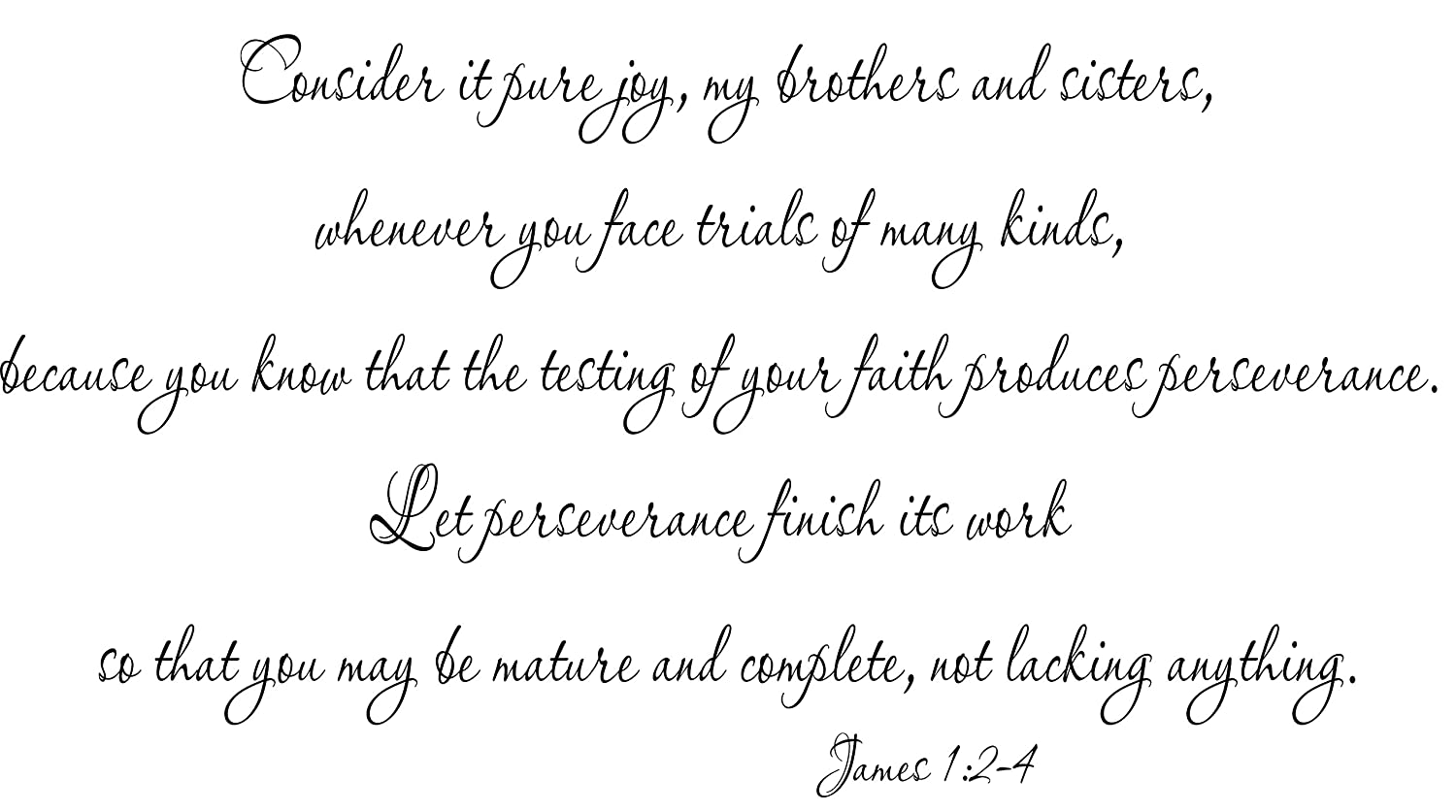 James 12 4 vinyl wall decal consider it pure joy my brothers and sisters whenever you face trials of many kinds produces perseverance finish its work