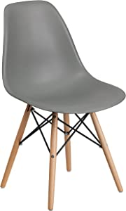 Flash Furniture Elon Series Moss Gray Plastic Chair with Wooden Legs