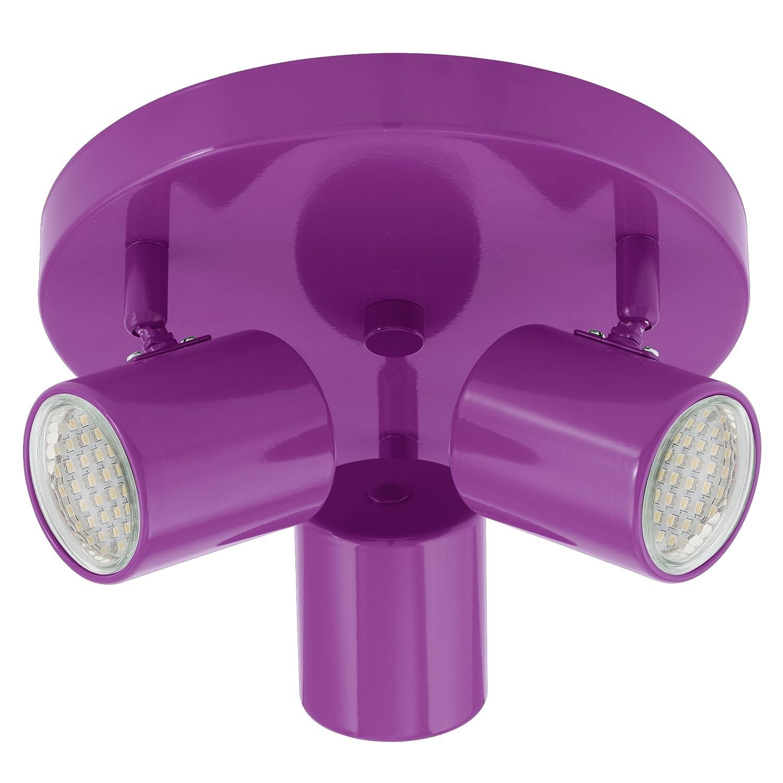 EGLO 13339 espolla/3 lED culot gU10, 5 x 2 w ø 22 cm/600 lm-classe de protection 1 ampoules incluses acier 13505 violet/blanc 5 x 2 w ø 22 cm/600 lm-classe de protection 1 ampoules incluses acier 13505 violet/blanc 13505 E