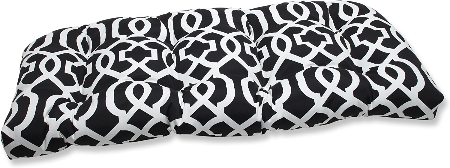 Pillow Perfect Outdoor New Geo Wicker Loveseat Cushion, Black/White