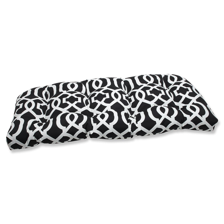 Pillow Perfect Outdoor New Geo Wicker Loveseat Cushion, Black/White 543420