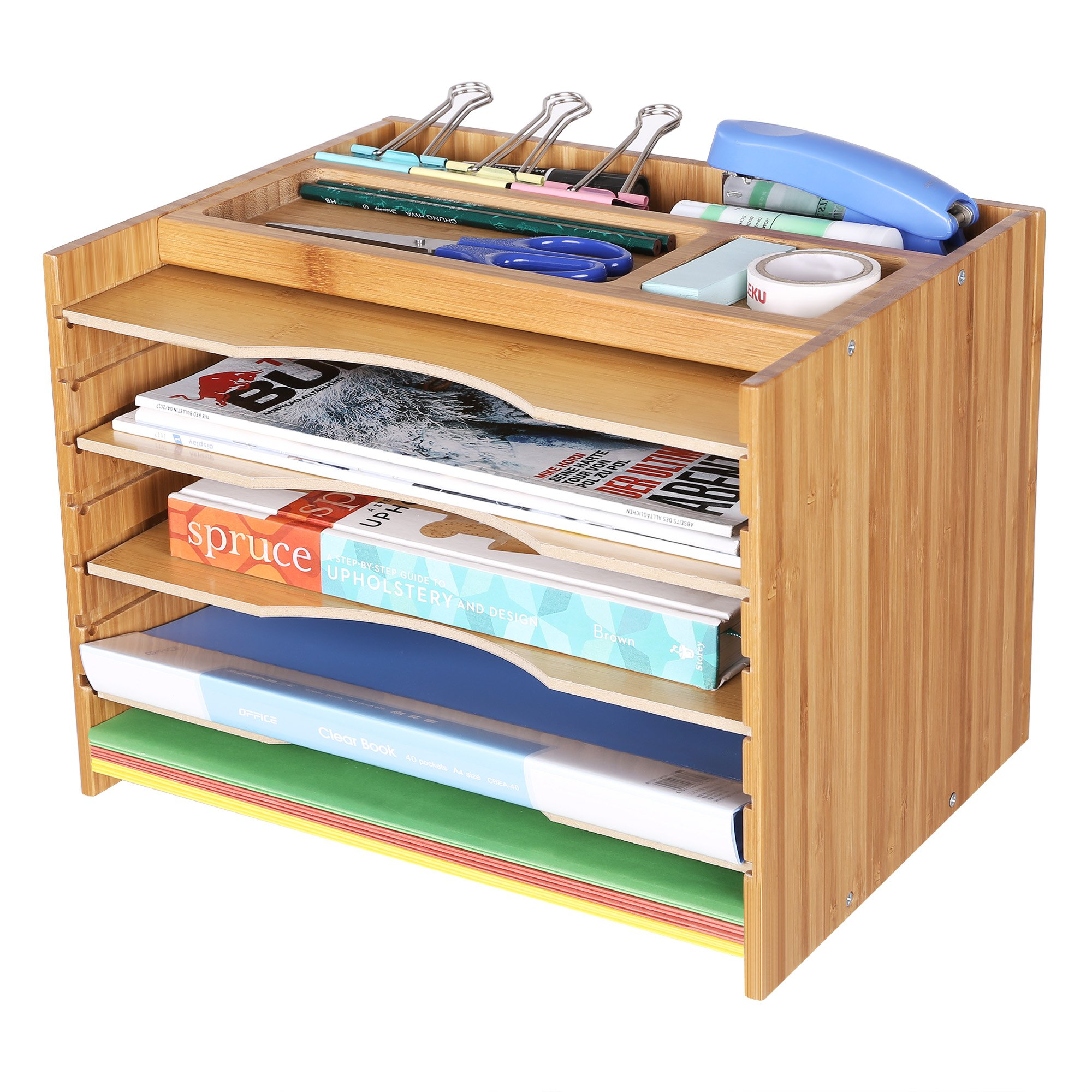 SONGMICS Bamboo File Organizer Paper Sorter with 5 Adjustable Shelves Top Storage Compartments Natural UOFS44Y by SONGMICS