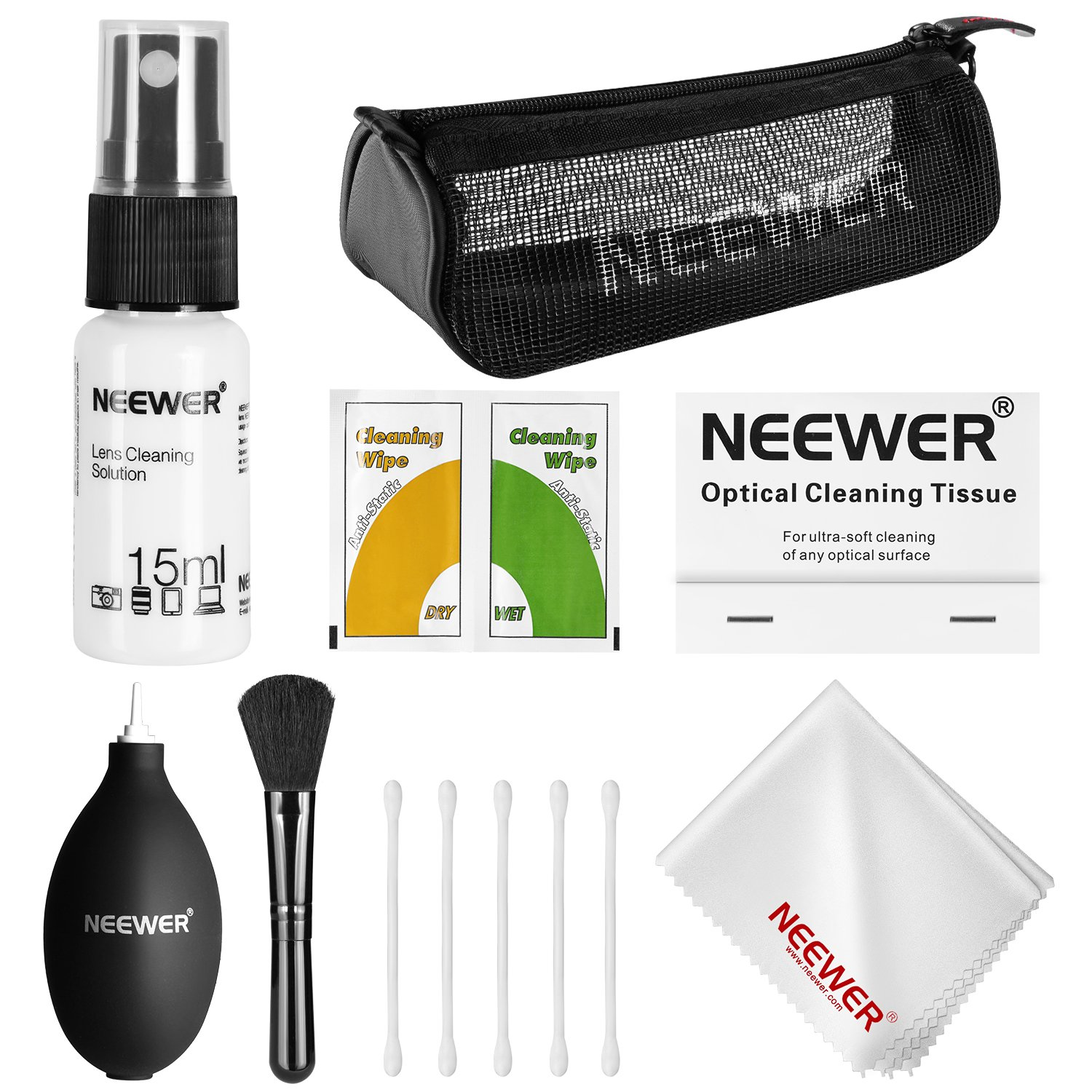 Neewer® 7-in-1 Camera Cleaning Kit for DSLR Lens, Sensor and LCD Screen: sensor cleaner + Brush + Air Blower + Tissue Paper + Empty Spray Bottle + Microfiber Cloth + Cotton Swab + Storage Case 10087127