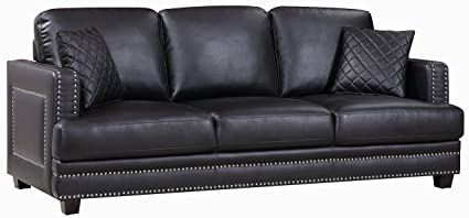 Amazon.com: Meridian Furniture 655BL-S Ferrara Leather Upholstered ...