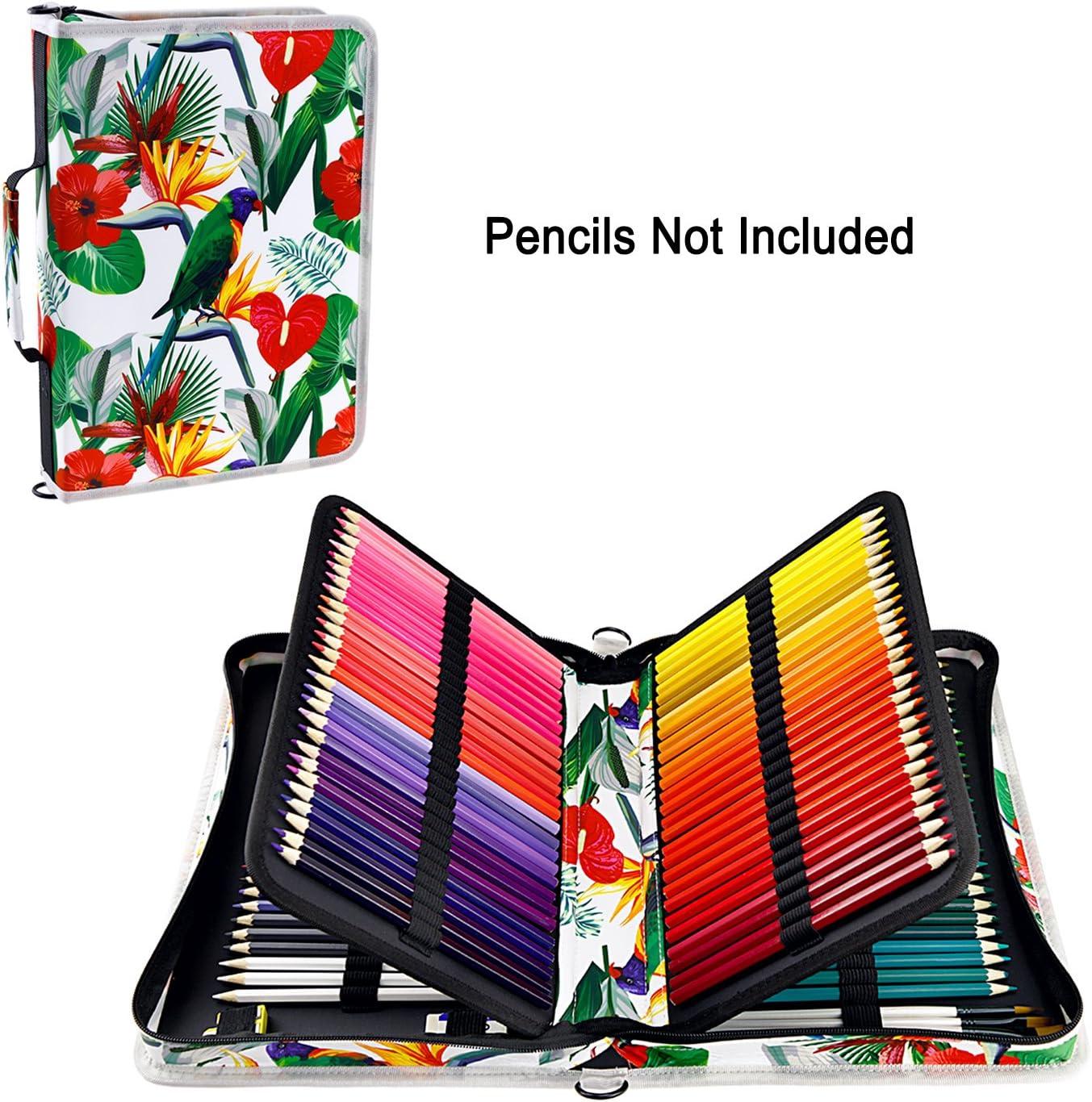 Colorato Grigio YOUSHARES 160 Slot di Matita Astuccio Penne Tasca Matite da Colorare Custodia Organizzatore Borsa Cancelleria e Tasca con Cerniera Interna