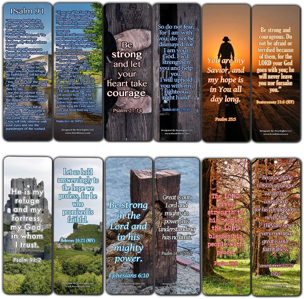 Psalm 91 Bookmarks for Christian Military Bookmarks (12 Pack) - Collection of Inspirational Bible Verses to Encourage YouYour Military Friends