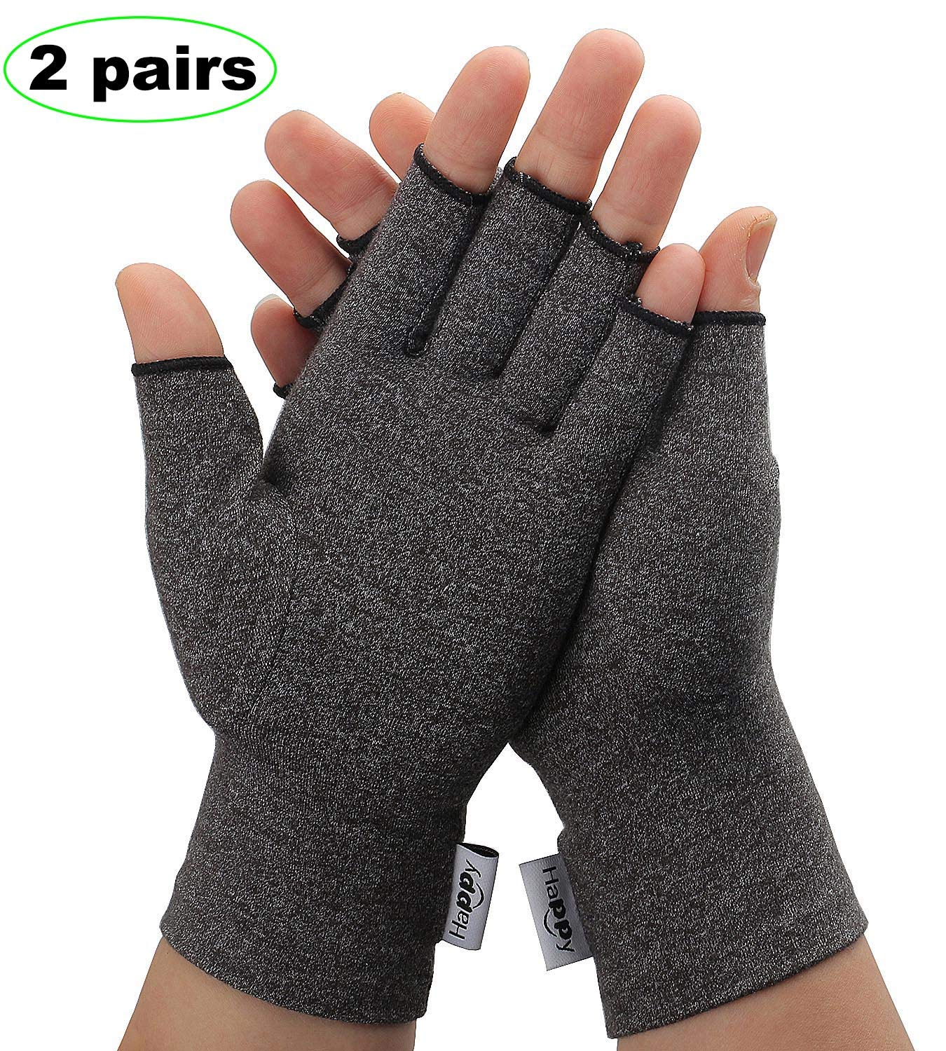 2 Pairs Compression Arthritis Gloves, Fingerless Hand Gloves for Rheumatoid & Osteoarthritis - Joint Pain and Carpel Tunnel Relief-Men & Women (Medium-2 Pairs)