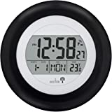 Circus Black Radio Controlled MSF signal Wall Mounted Digital Clock with Calendar and indoor Temperature by Acctim